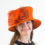 Orange Velvet Bow Lamp Shape Felt Hats