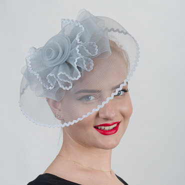 Silver Crinoline Comb Fascinator Cocktail Hats