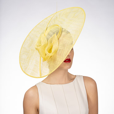 Yellow Sinamay Saucer Headband Fascinator Cocktail Hats