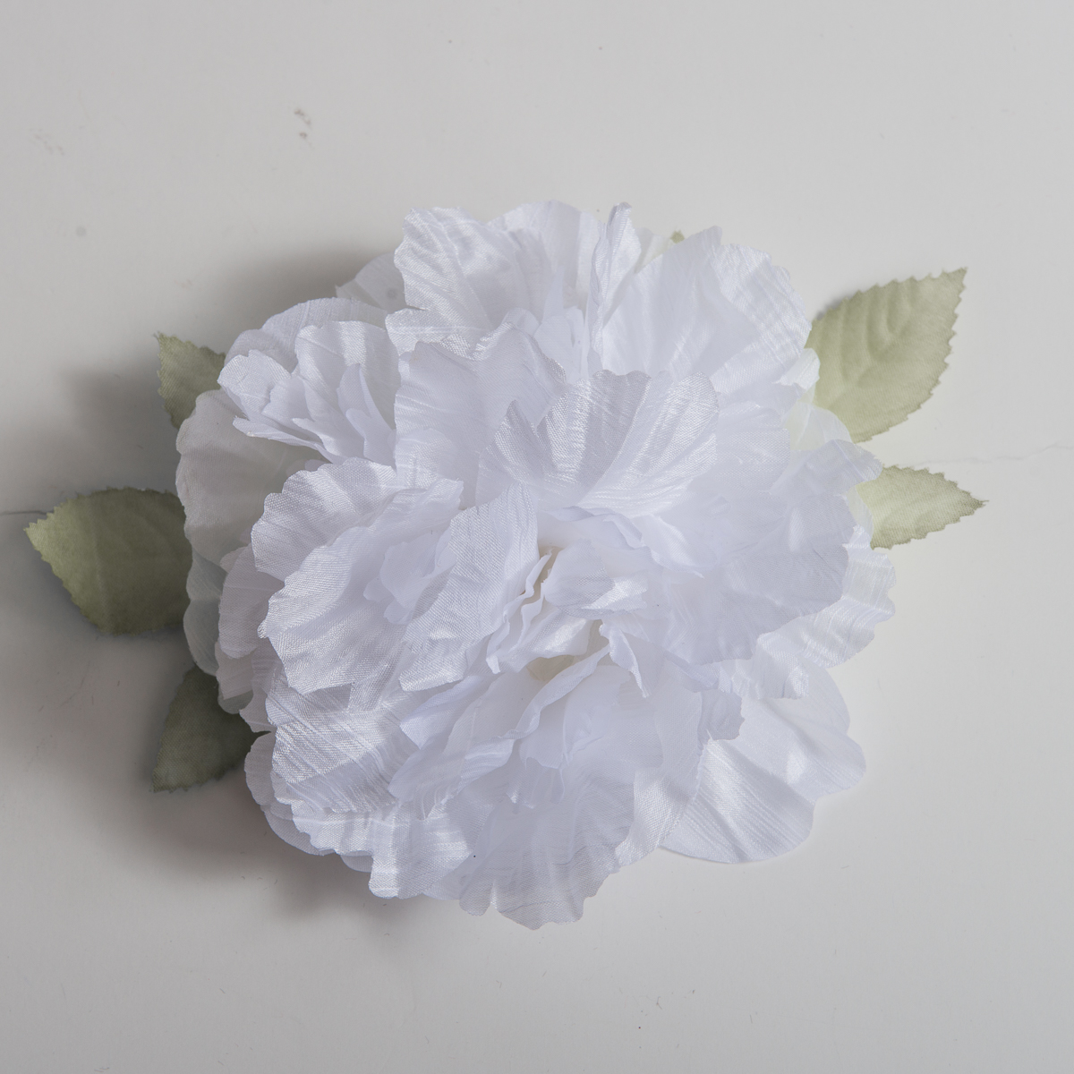 White Silk Peony Flower Heads With Leaves 802015 01 Sun Yorkos Zoria