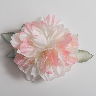 Silk Peony Flower Heads with Leaves