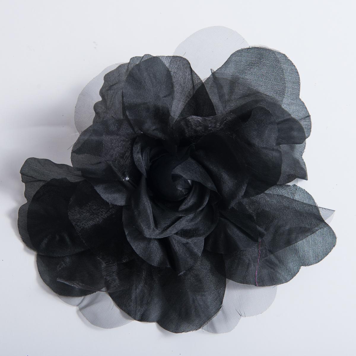 Black silk open rose flower heads 802053 bk sun yorkos zoria black open rose silk flower trims mightylinksfo
