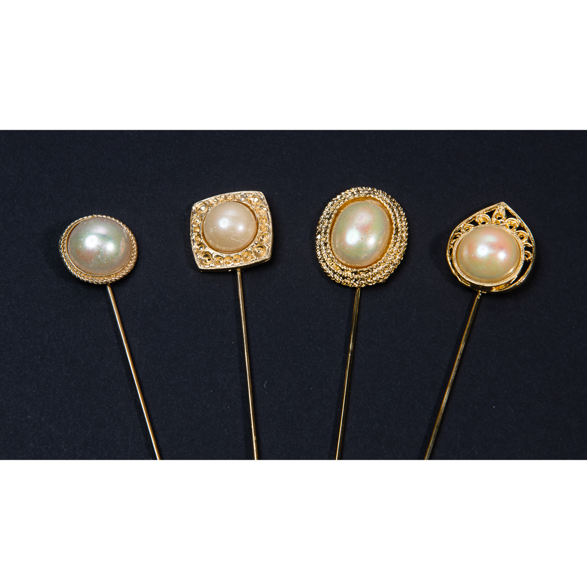 4 Pieces 6 Inches Assorted Colors Beads Hat Pin Set-A4000