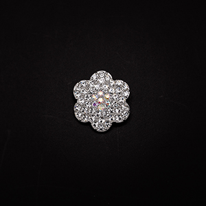 Crystal Ab And Clear Rhinestone Plum Flower Silver Tone Brooch