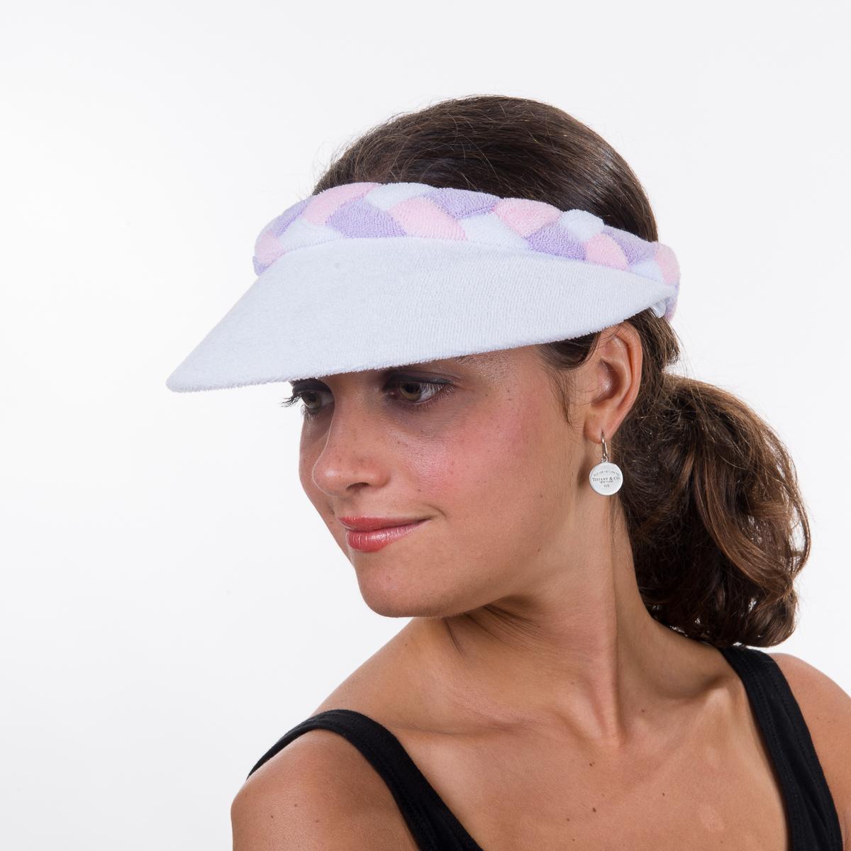 White Lilac Pink Braided Terry Cloth Sun Visors-BS-8239-A- Sun ... 5fa664869232