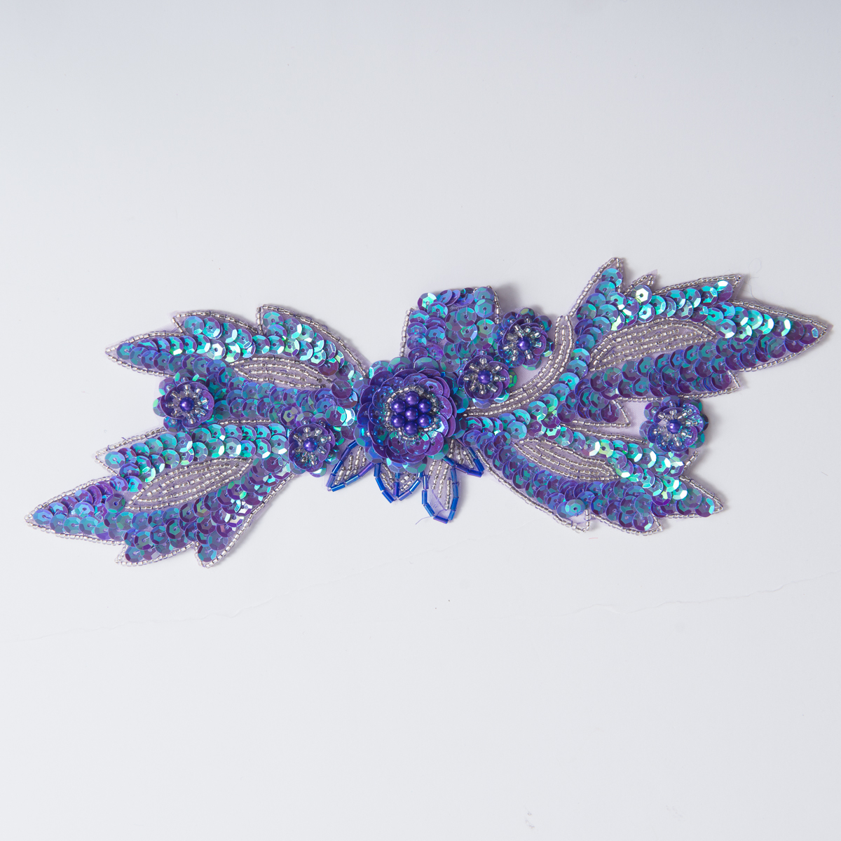 Lilac Silver Sequin Bead Flower Applique Et 2728 Dll Sv