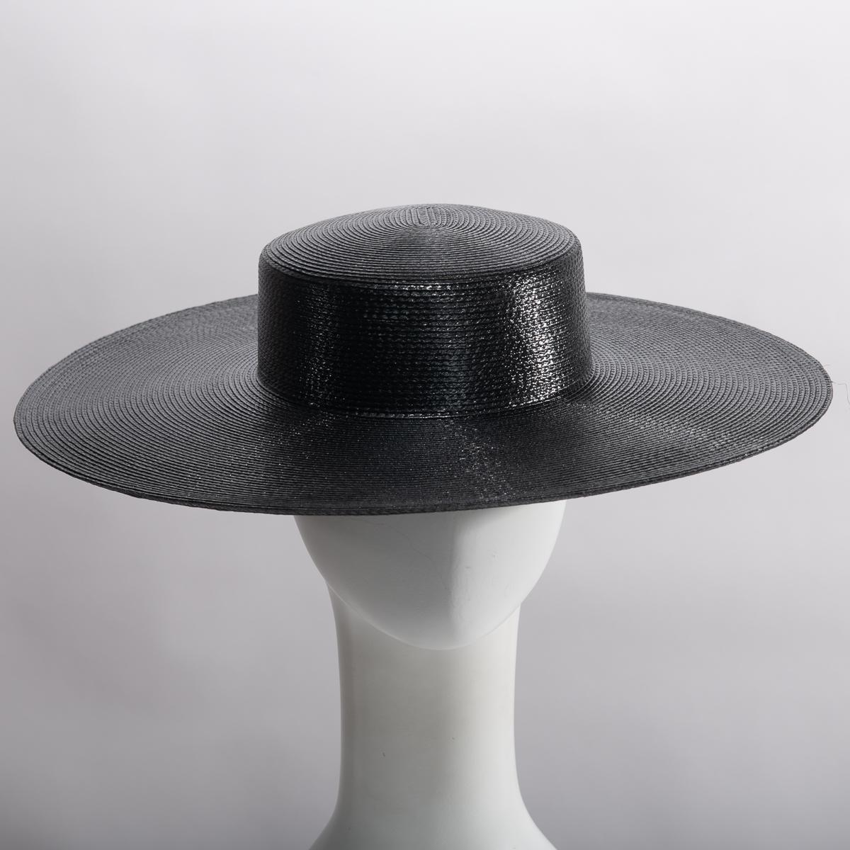 6a06ee9214b1c3 Black 5 Inch Brim Blocked Untrimmed Poly Straw Hat Base - Sun Yorkos | Zoria