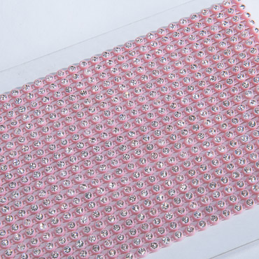 SS12 Single Row Rhinestone Banding Trim Light Pink Plastic Backing-10 YD