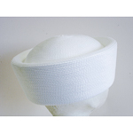White Blocked Untrimmed Poly Straw Pillbox Hat Base