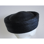 Black Blocked Untrimmed Poly Straw Pillbox Hat Base