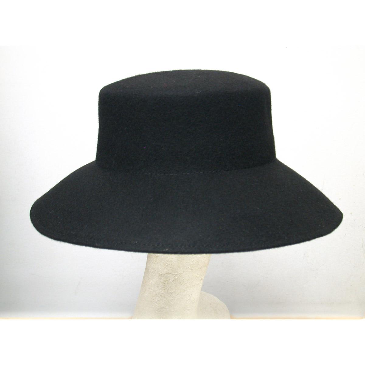 4e0de78f1b0d9 Black Lampshade Flat Top Felt Plain Hats-W0104A-BLACK- Sun Yorkos ...