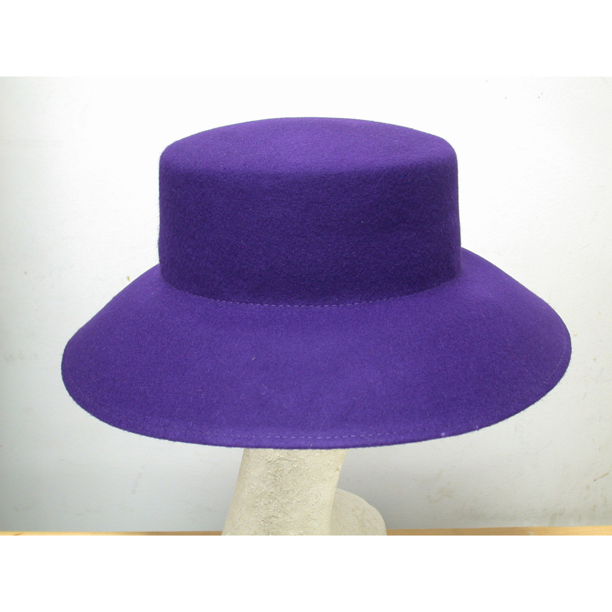 b8cd94361 Purple Lampshade Flat Top Blocked Untrimmed Felt Hat Base