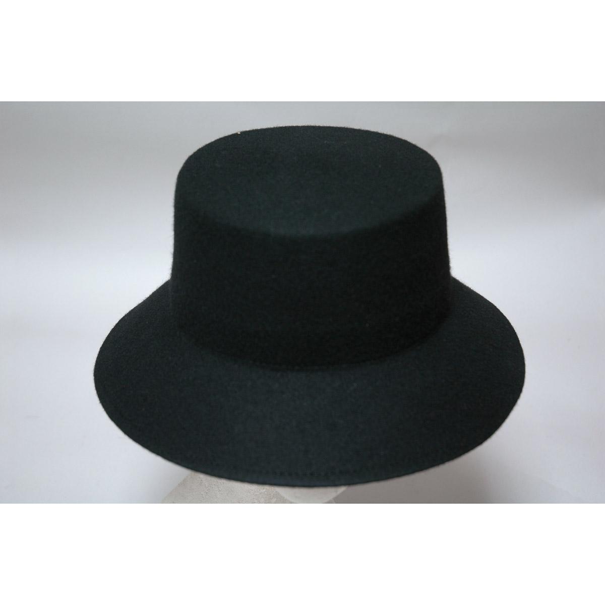 740598718eae3 Black down brim Flat top Felt Hat Body  by Zoria