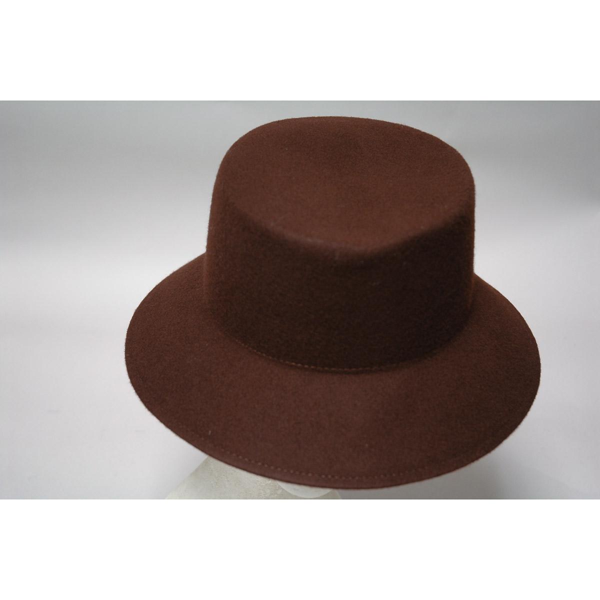 de8d48c195a5a Dark Brown Lampshade Small Brim Flat Top Blocked Untrimmed Felt Hat Base