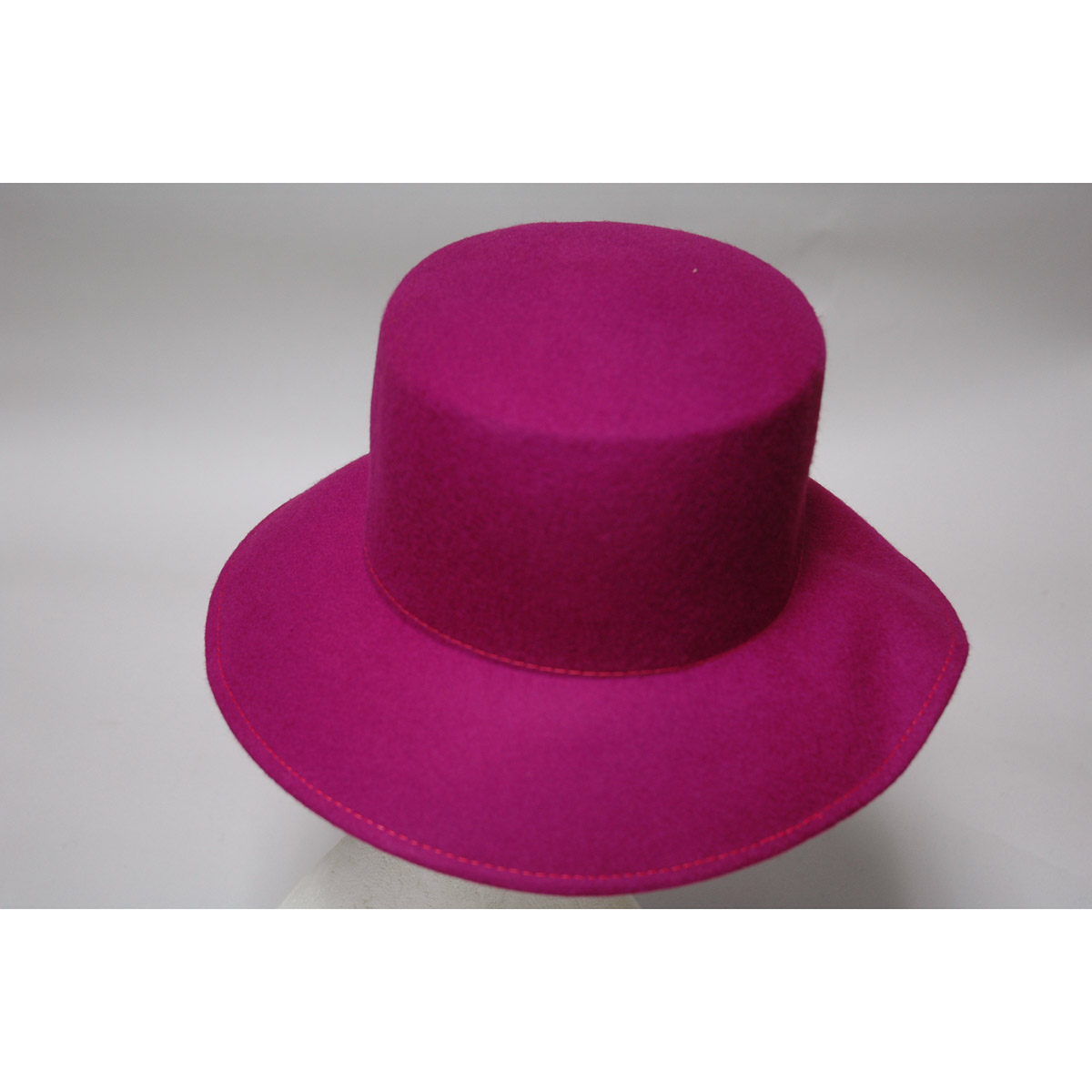 bf684b27abb82 Fuchsia Lampshade Small Brim Flat Top Blocked Untrimmed Felt Hat Base