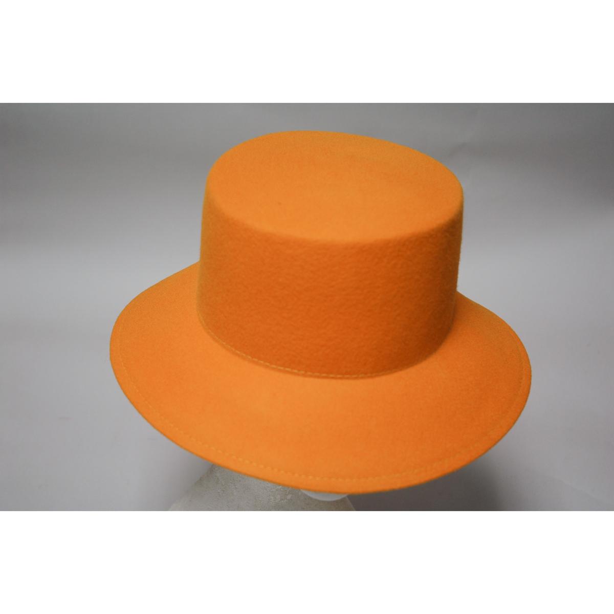 f08ec7af54495 Gold Lampshade Small Brim Flat Top Felt Plain Hats-W0110-GOLD- Sun Yorkos