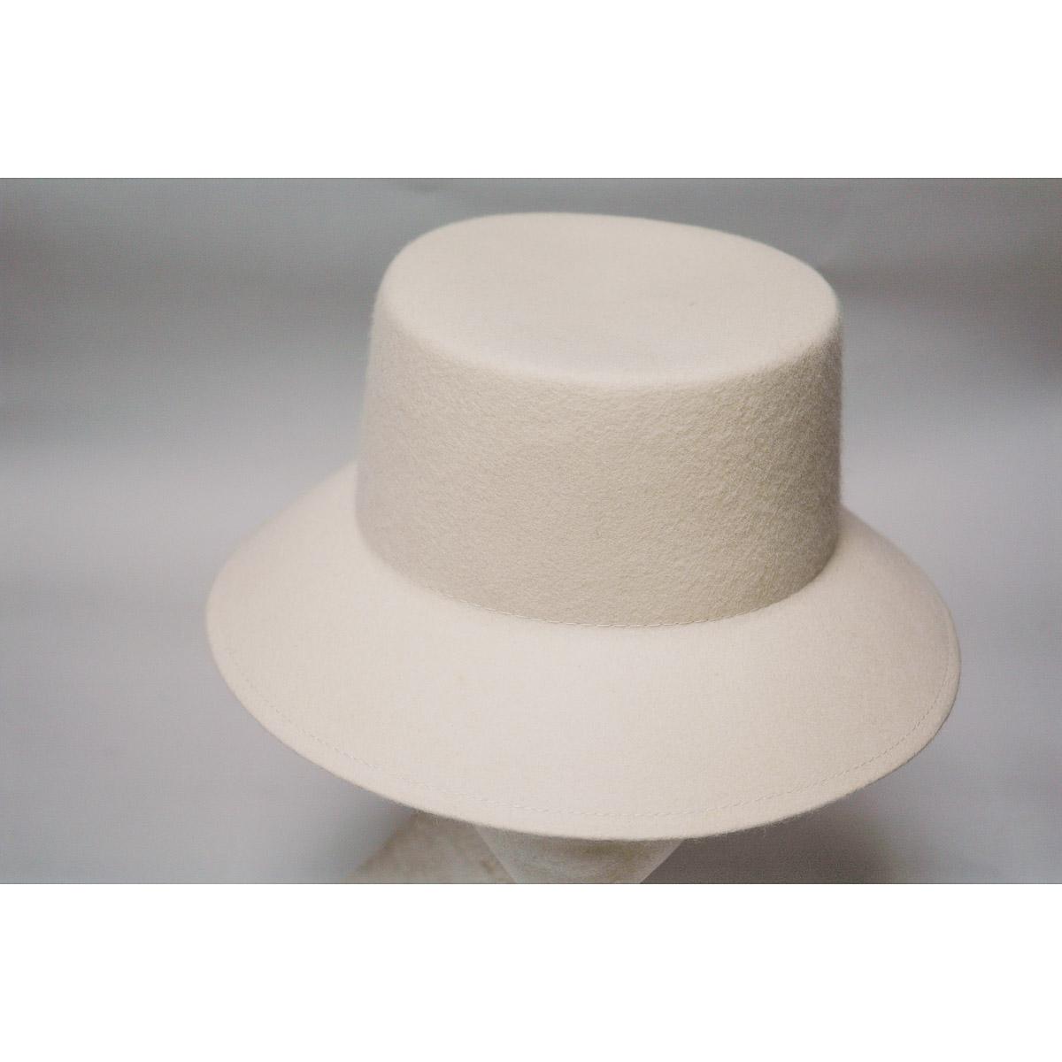 86d370f1aec6d Ivory Lampshade Small Brim Flat Top Blocked Untrimmed Felt Hat Base