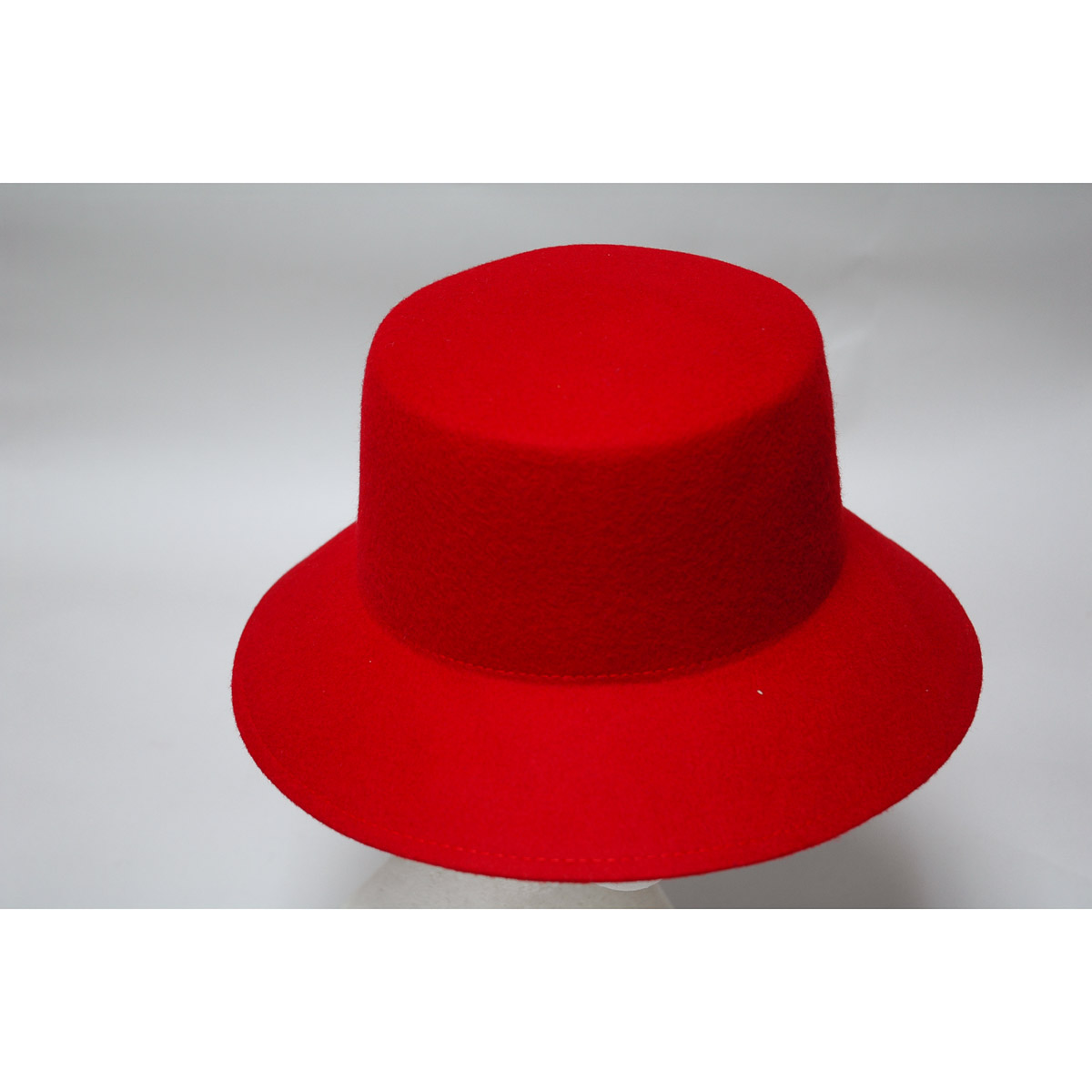 4351f1a66bae2 Red Lampshade Small Brim Flat Top Blocked Untrimmed Felt Hat Base