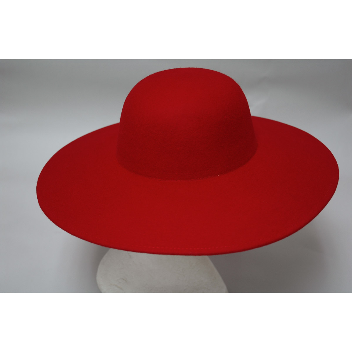 Red Wide Brim Sailor Boater Felt Plain Hats-W0116A-RED ...