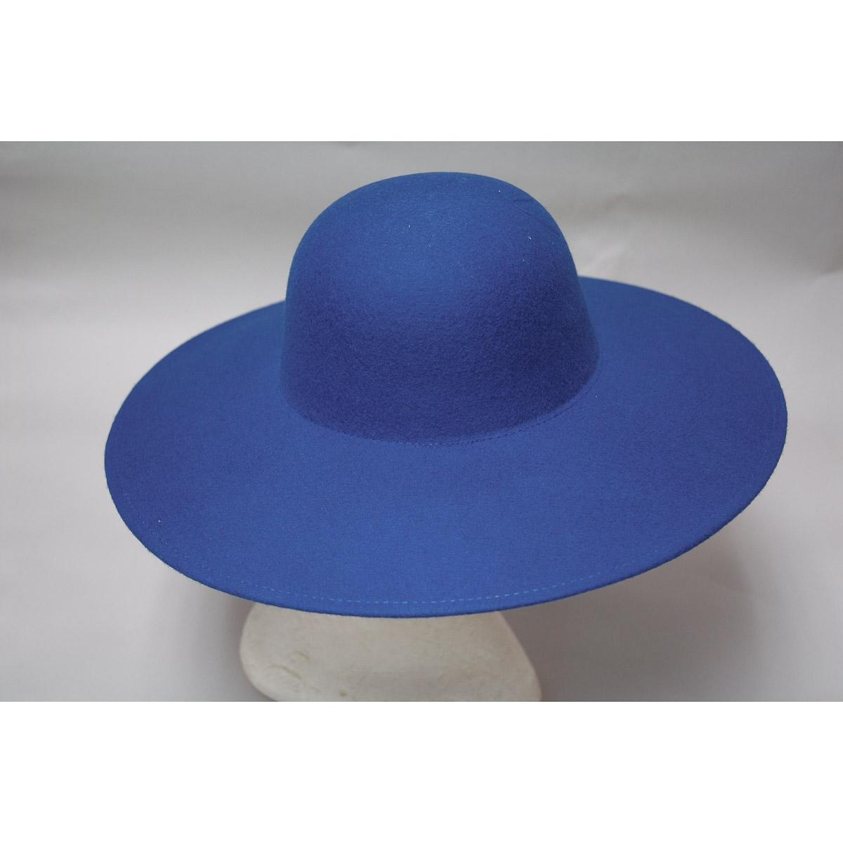 Royal Wide Brim Sailor Boater Felt Plain Hats-W0116A-ROYAL- Sun Yorkos  15e8da6c5ec