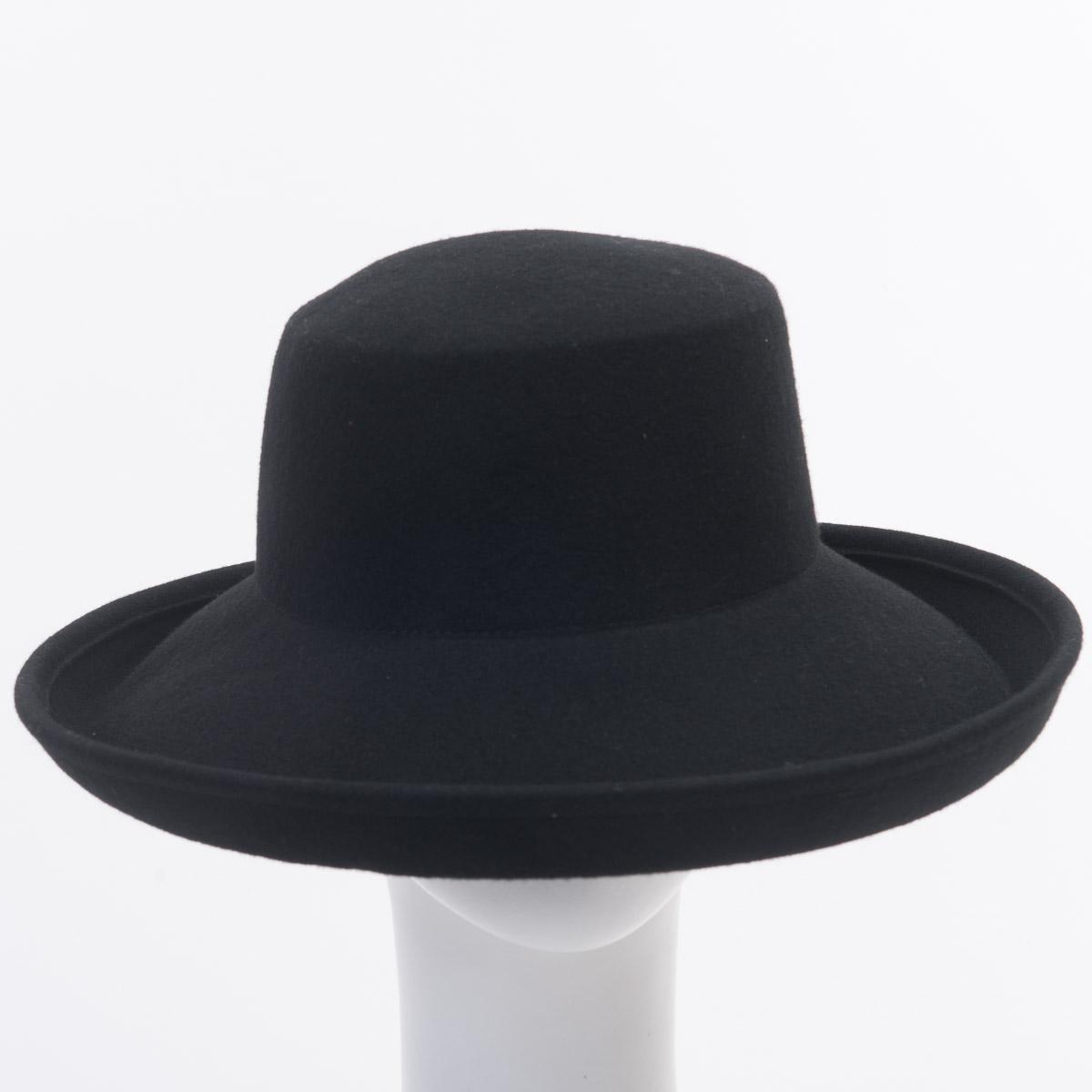 Black Kettle Brim Dome Shape Blocked Untrimmed Felt Hat Base