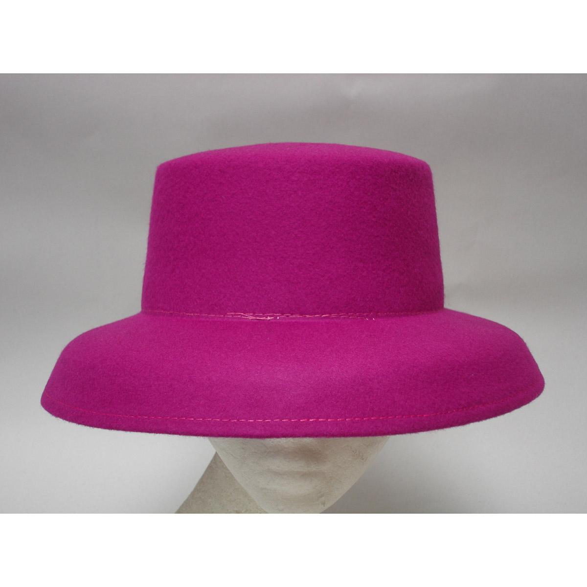 Fuchsia Down Kettle Brim Dome Shape Blocked Untrimmed Felt Hat Base