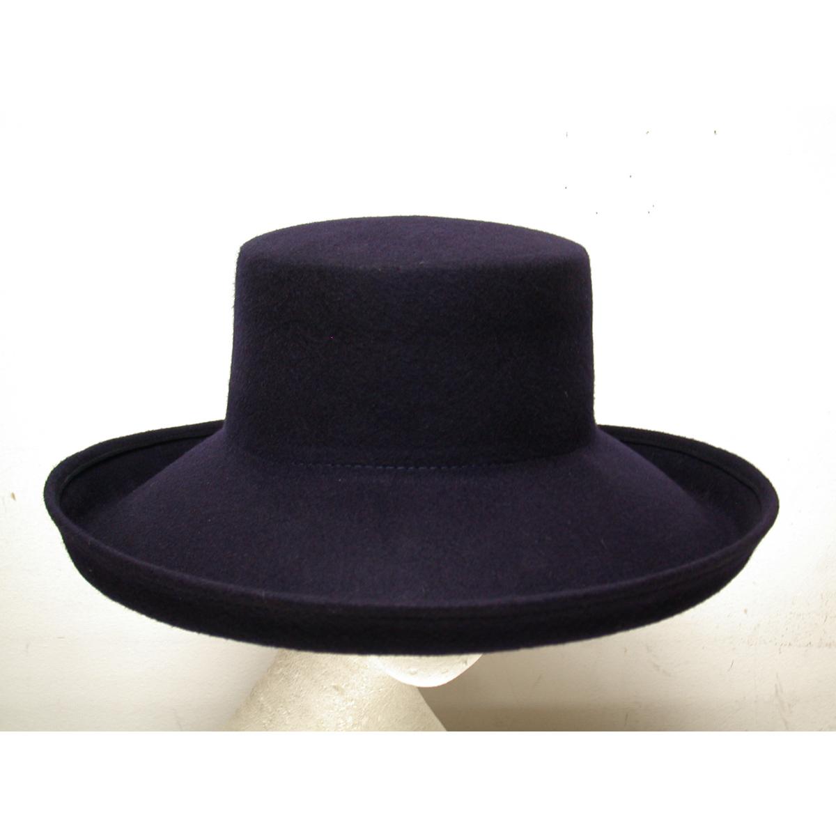 Navy Wide Kettle Brim Flat Top Felt Plain Hats-W0126-NAVY- Sun Yorkos  a4ede1cf706