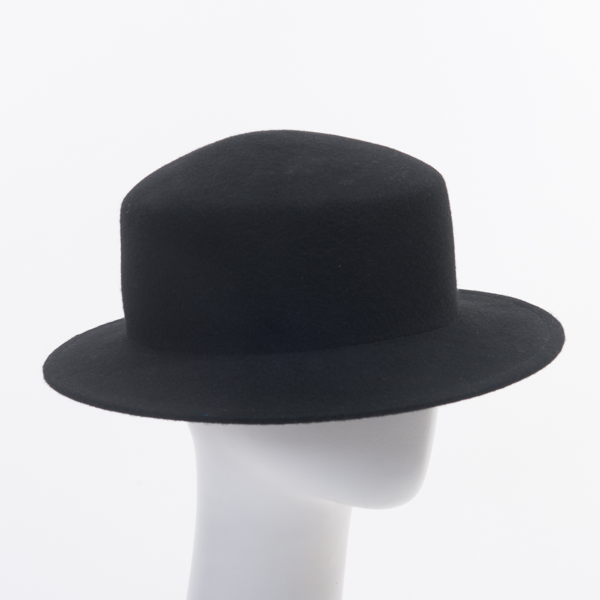 Black Small Brim Boater Felt Plain Hats-W0164A-BLACK- Sun Yorkos  6d08b9f9ee2