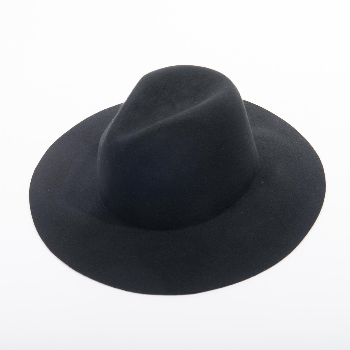 62fc63745404b3 Black Wide Brim Fedora Felt Plain Hats-W0166A-BLACK- Sun Yorkos | Zoria