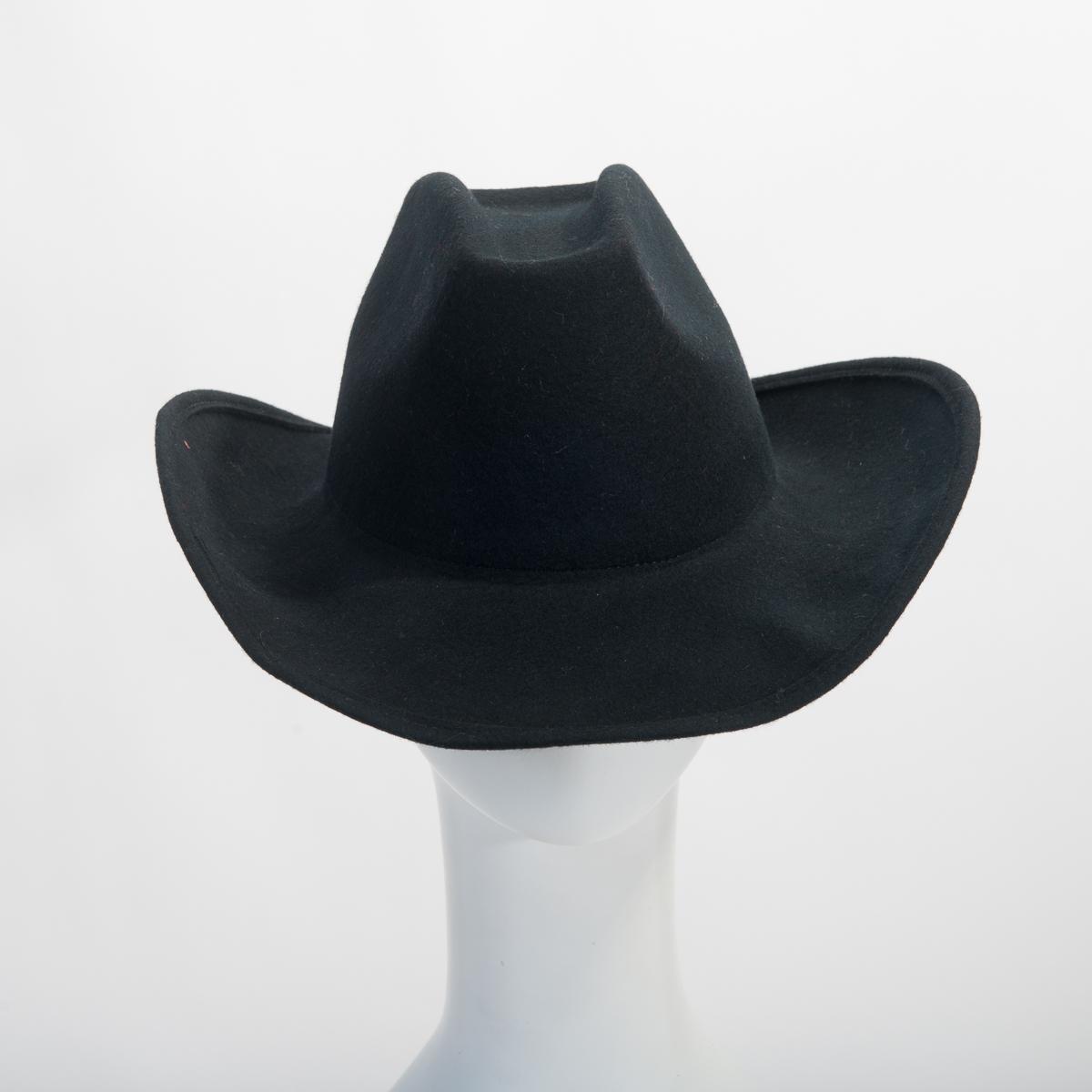 Black Cattleman Cowboy Wool Felt Plain Hats-W0222-BLACK- Sun Yorkos ... 6479f9d56d4