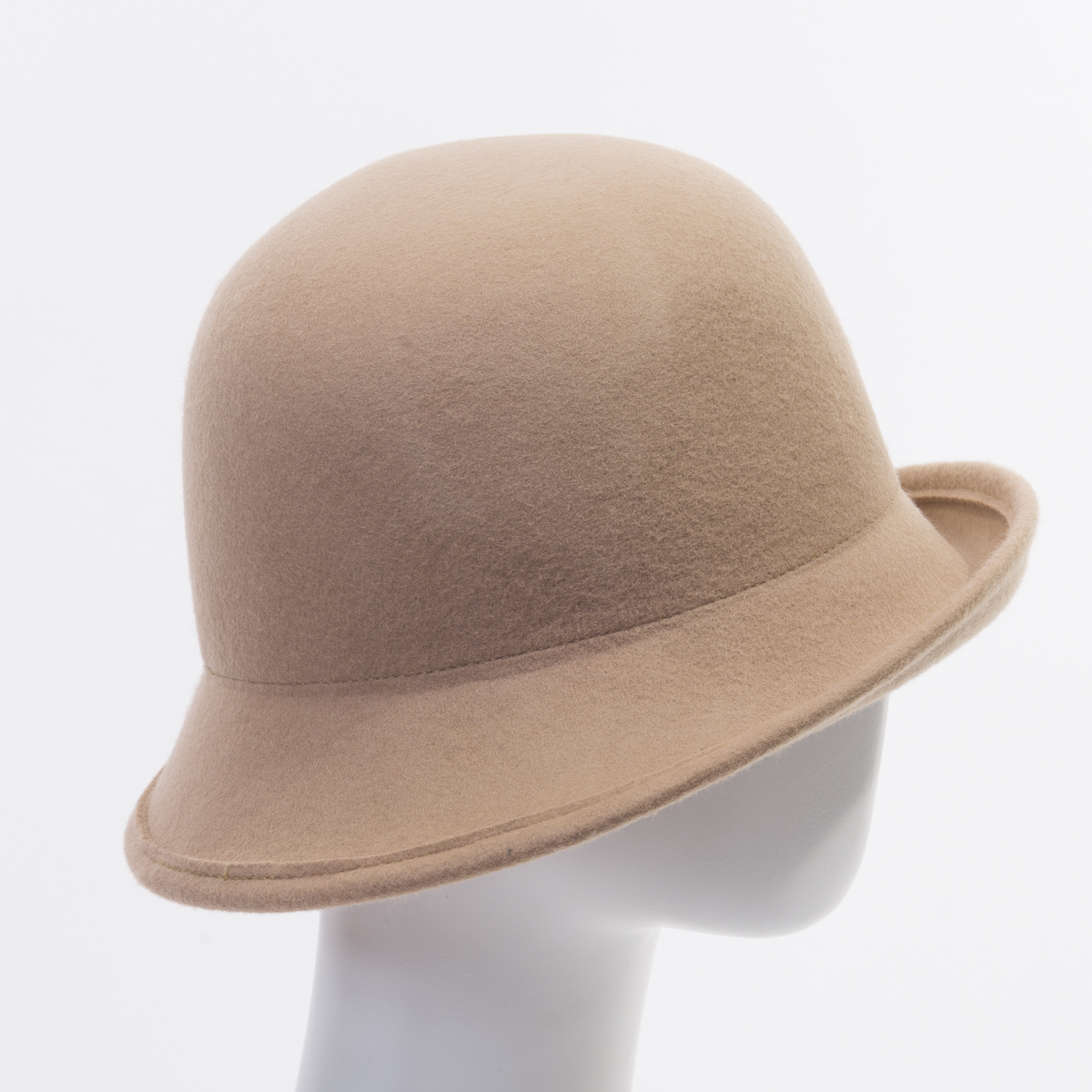 Beige Off Face Cloche Felt Plain Hats-W6015A-BEIGE- Sun ...