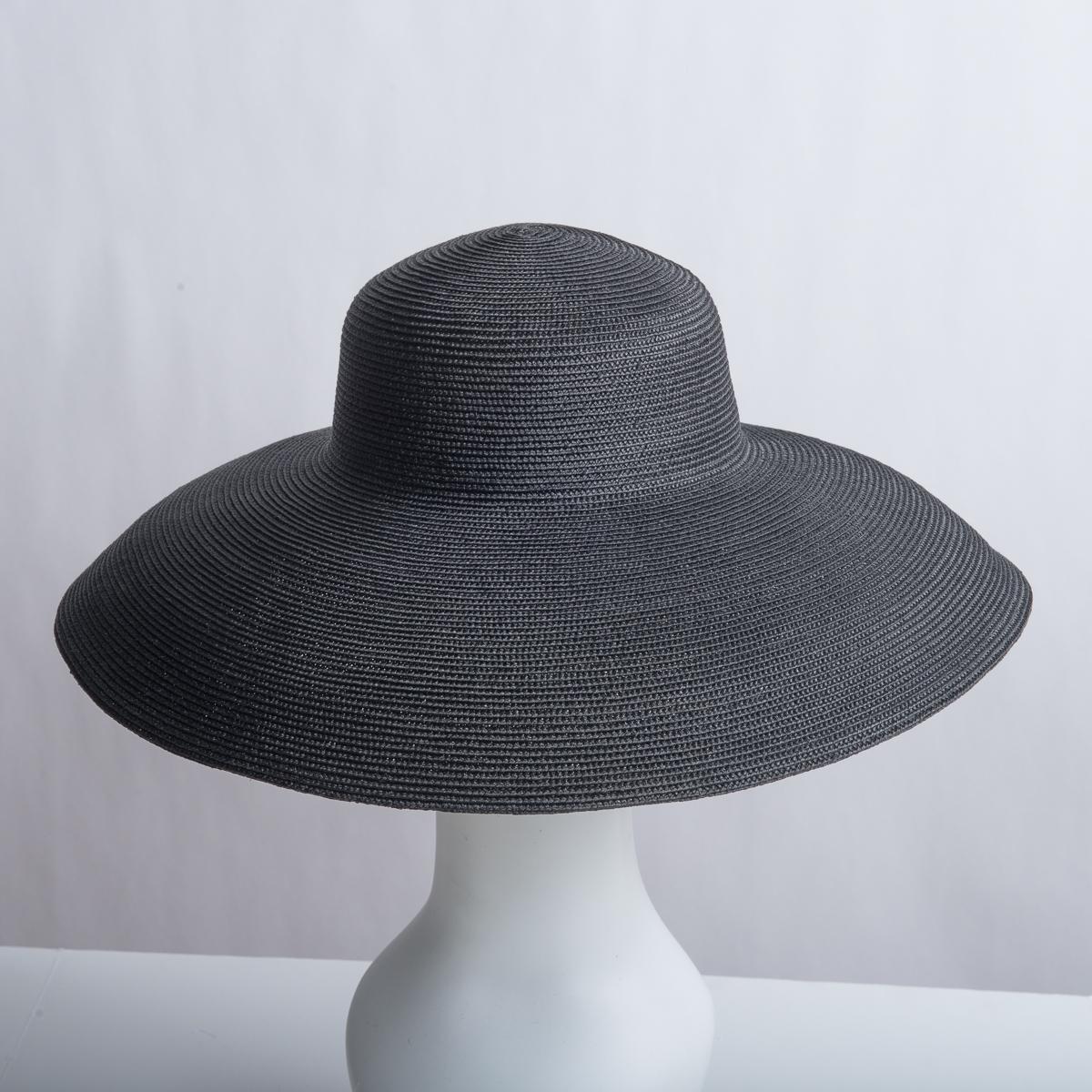 96de5f9d1e457b Black Dull Polypropylene Straw Wide Brim Plain Hats-Y108_88R-05- Sun Yorkos  | Zoria
