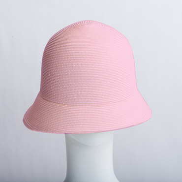 Pink Dull Small Brim Blocked Untrimmed Poly Straw Hat Base