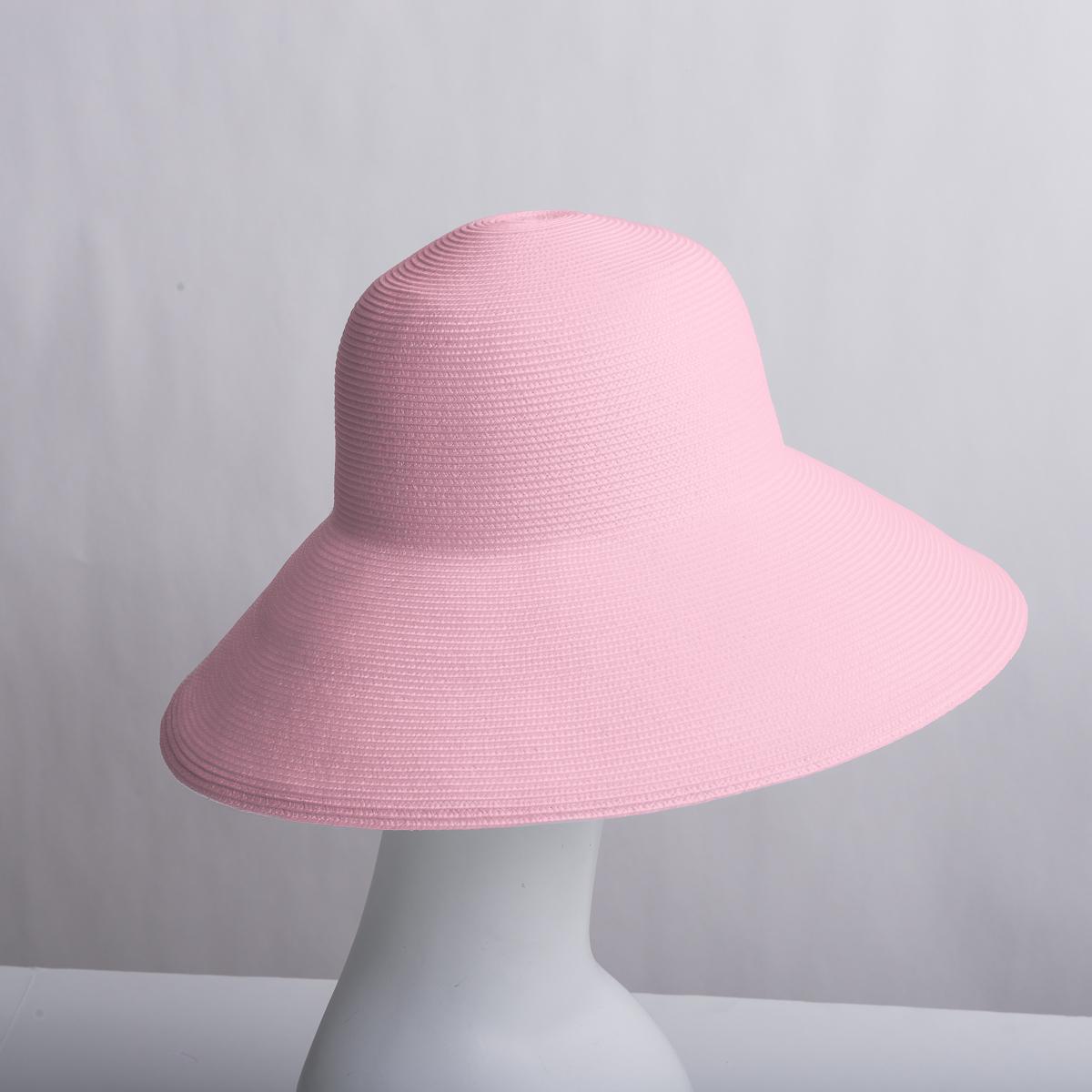 6117d6437d1 Light Pink Dull Medium Brim Blocked Untrimmed Poly Straw Hat Base - Sun  Yorkos