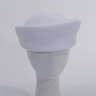 White Vintage Blocked Untrimmed Poly Straw Pillbox Hat Base