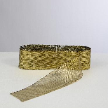 3'' Gold And Black Crin Metallic Horsehair Fabric Braid; 36YD