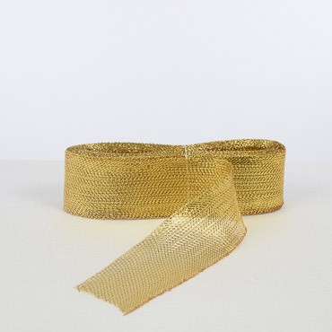 3'' Gold Crin Metallic Horsehair Fabric Braid; 36YD