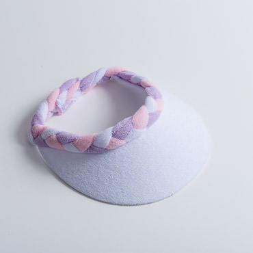 White Lilac Pink Braided Terry Cloth Sun Visors