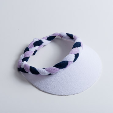 White Navy Lilac Braided Terry Cloth Sun Visors