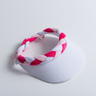 White Pink Hot Pink Braided Terry Cloth Sun Visors