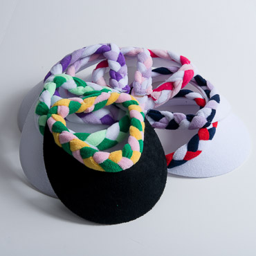 7 Assorted Colors Braided Terry Cloth Sun Visors
