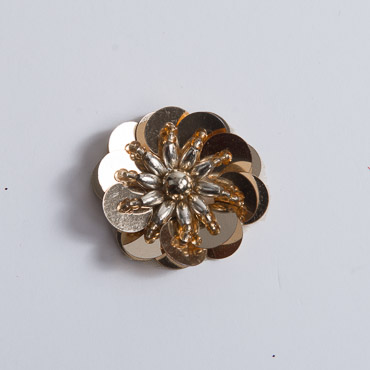 Gold Large Sequin Flower Beading Applique