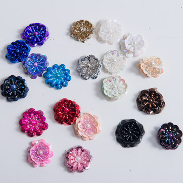 Small Sequin Flower Beading Applique