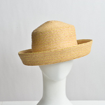 Natural Small Brim Straw Blocked Plain Hat Base