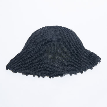 Black Crochet Paper Bucket Hats