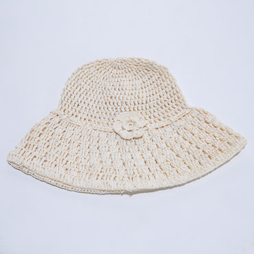 Off White Crochet Paper Bucket Hats With Flower