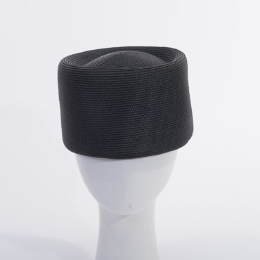 Dull Poly Blocked Untrimmed Poly Straw Pillbox Hat Base
