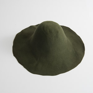 3'' Brim Un-Blocked Olive Felt Hat Body