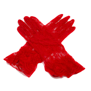 Red 10'' Wrist Length Lace Gloves