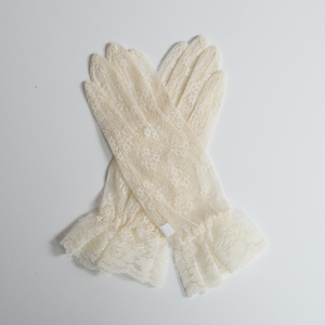 Ivory 10 Inches Lace Gloves